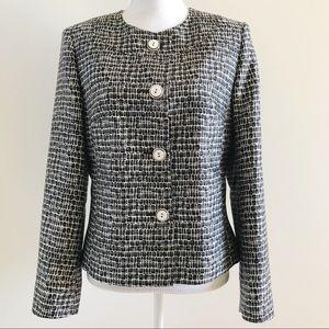 Talbots Silk Wool Blazer Jacket Black White 8